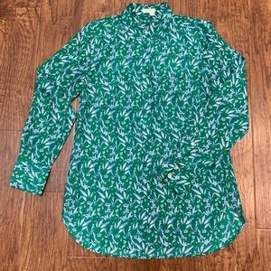 J. Crew green and white button down blouse